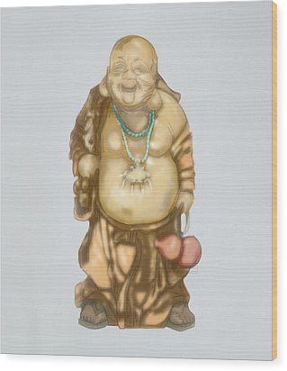 Wood Print featuring the mixed media Buddha by TortureLord Art