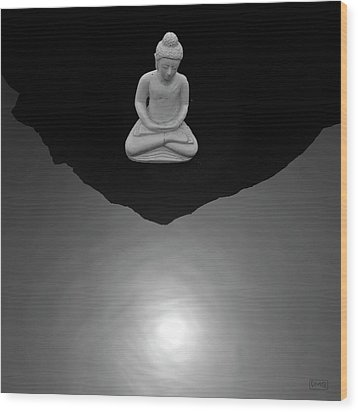 Buddha V  Bw Wood Print by David Gordon