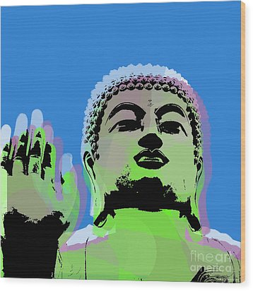 Wood Print featuring the digital art Buddha Warhol Style by Jean luc Comperat