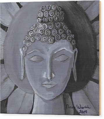 Buddha With A Stone Lotus Wood Print by Nicole Werth