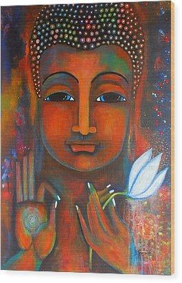 Buddha With A White Lotus In Earthy Tones Wood Print by Prerna Poojara