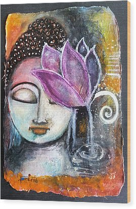 Wood Print featuring the mixed media Buddha With Torn Edge Paper Look by Prerna Poojara