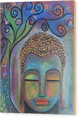 Buddha With Tree Of Life Wood Print by Prerna Poojara
