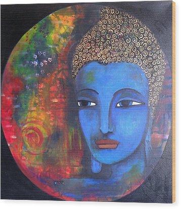 Buddha Within A Circular Background Wood Print by Prerna Poojara