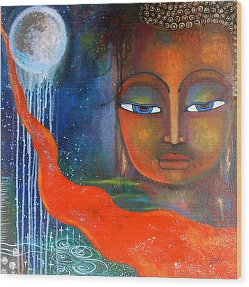 Buddhas Robe Reaching For The Moon Wood Print