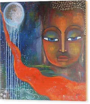 Buddhas Robe Reaching For The Moon Wood Print by Prerna Poojara