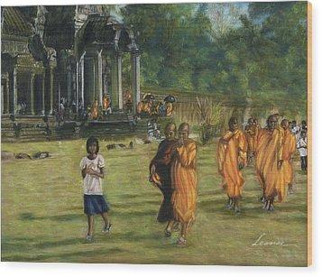 Buddhist Monks Wood Print by Leonor Thornton