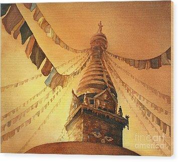 Buddhist Stupa- Nepal Wood Print by Ryan Fox