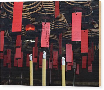 Buddhist Temple Ladder Street 2 Hong Kong Wood Print by Michael Canning
