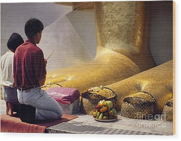 Wood Print featuring the photograph Buddhist Thai People Praying by Heiko Koehrer-Wagner
