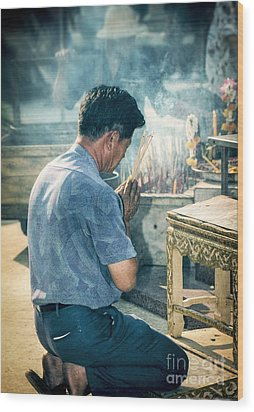 Wood Print featuring the photograph Buddhist Way Of Praying by Heiko Koehrer-Wagner
