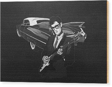 Buddy Holly And 1959 Cadillac Wood Print