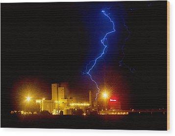 Budweiser Lightning Strike Wood Print by James BO  Insogna