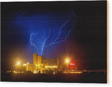 Budweiser Powered By Lightning Wood Print by James BO  Insogna