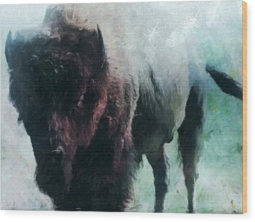 Buffalo American Bison Wood Print by Michele Carter