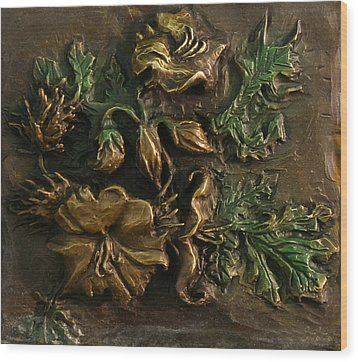 Wood Print featuring the relief Buffalo Bur Flower From Snowy Range Life by Dawn Senior-Trask