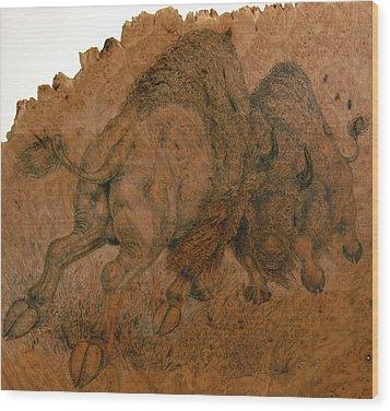 Buffalo Butt Wood Print by Jerrywayne Anderson