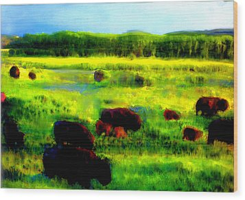 Wood Print featuring the painting Buffalo Coming Home by FeatherStone Studio Julie A Miller