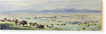 Buffalo Coming To Water. Watercolor Wood Print by Everett