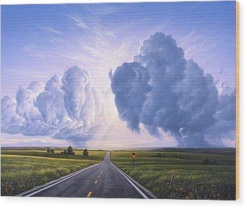 Buffalo Crossing Wood Print by Jerry LoFaro