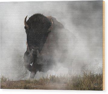 Wood Print featuring the digital art Buffalo Emerging From The Fog by Daniel Eskridge