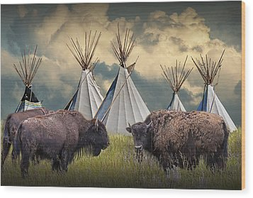 Buffalo Herd On The Reservation Wood Print