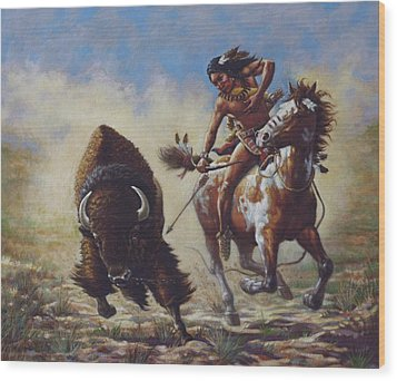 Buffalo Hunter Wood Print by Harvie Brown