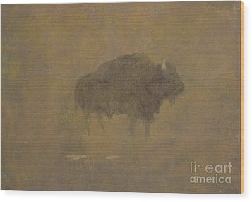 Buffalo In A Sandstorm Wood Print