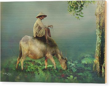 Wood Print featuring the photograph Buffalo In The Mist by Wallaroo Images