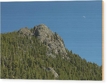 Wood Print featuring the photograph Buffalo Rock With Waxing Crescent Moon by James BO Insogna