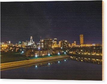 Buffalo Skyline Under The Stars Wood Print
