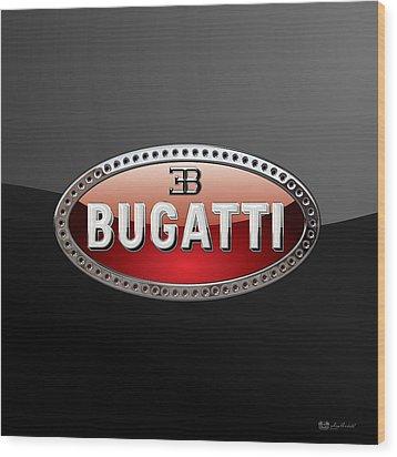 Bugatti - 3d Badge On Black Wood Print by Serge Averbukh