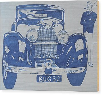 Wood Print featuring the drawing Bugatti by Mike Jeffries
