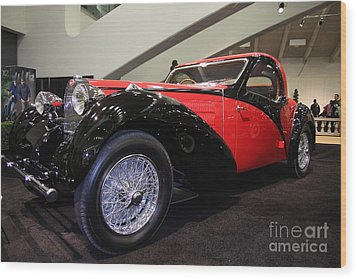 Bugatti Red Wood Print by Wingsdomain Art and Photography