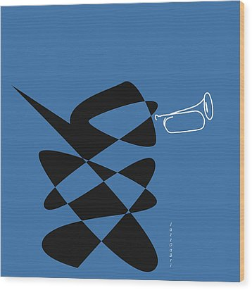 Wood Print featuring the digital art Bugle In Blue by David Bridburg