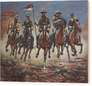 Wood Print featuring the painting Bugler And The Guidon by Harvie Brown