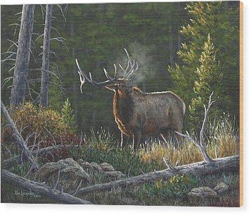 Bugling Bull Wood Print
