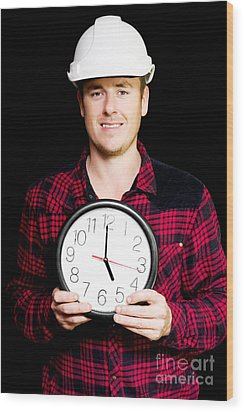Builder With Clock Showing Home Time Wood Print by Jorgo Photography - Wall Art Gallery