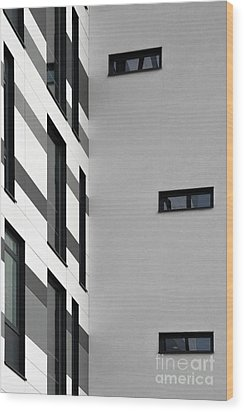 Wood Print featuring the photograph Building Block - Black And White by Wendy Wilton
