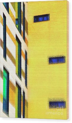 Wood Print featuring the digital art Building Block - Yellow by Wendy Wilton