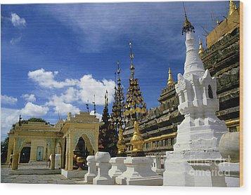 Built Structures Inside Shwezigon Pagoda Wood Print by Sami Sarkis