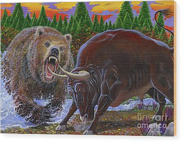 Bull And Bear Wood Print by Carey Chen