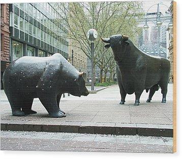Bull And Bear Wood Print by Martina Fagan