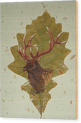 Bull Elk Wood Print by Ralph Root