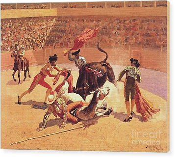 Bull Fight In Mexico Wood Print by Roberto Prusso