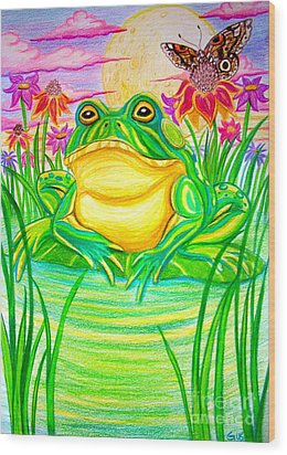 Bull Frog And The Moon Wood Print by Nick Gustafson