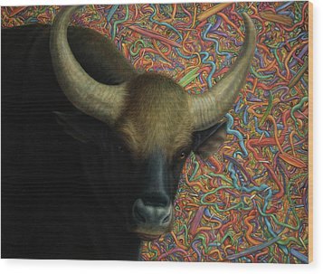 Bull In A Plastic Shop Wood Print by James W Johnson