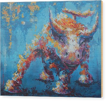 Bull Market X Wood Print