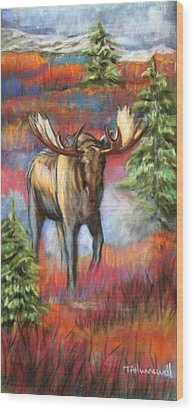 Bull Moose In Fall Wood Print by Tracey Hunnewell