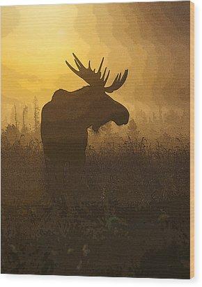 Bull Moose In Fog- Abstract Wood Print by Tim Grams